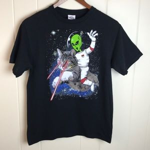3/$19 Black Kids Unisex Cat Alien Graphic Tee